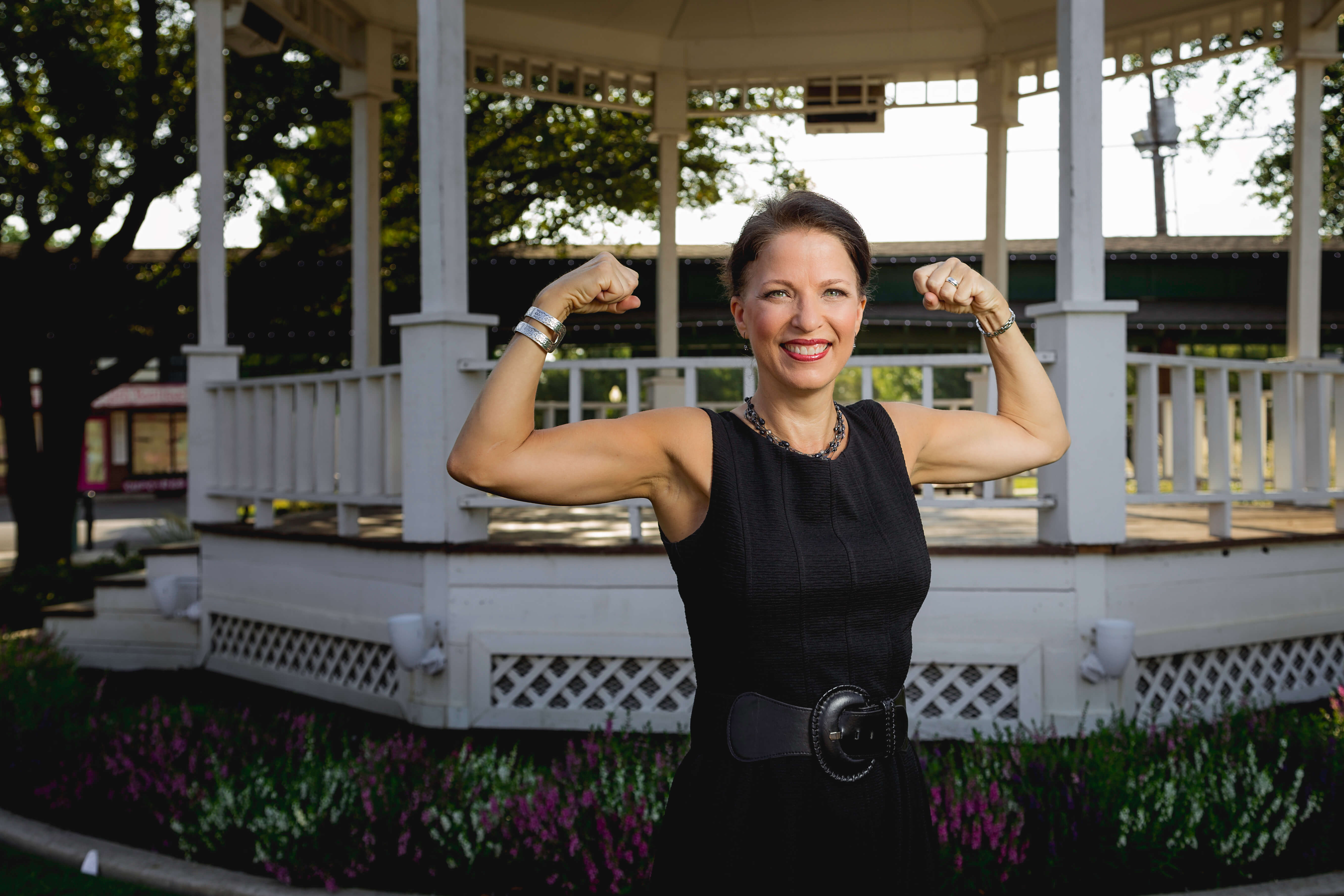 Janet St. James showing her strength as a breast cancer survivor